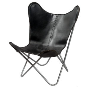 Black-Leather-Butterfly-Chair 1