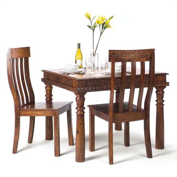handcraved wooden dining table and chairs size in inches Table  31 in H x 40 in W x 40 in Chairs 17 in H x  24 in W x 28 in D