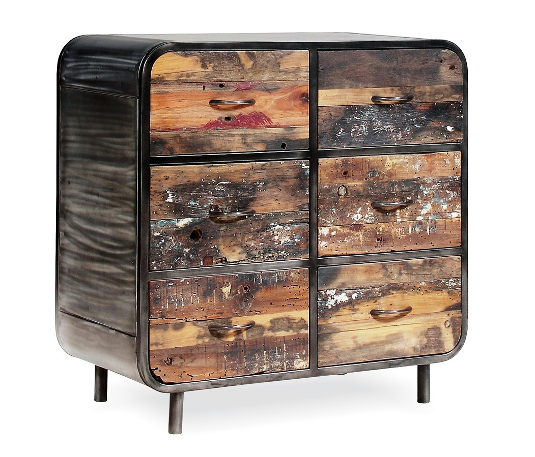 recycled wooden furniture. Industrial Recycle Wood Cabinet , Reclaimed 6 Drawers Recycled Wooden Furniture