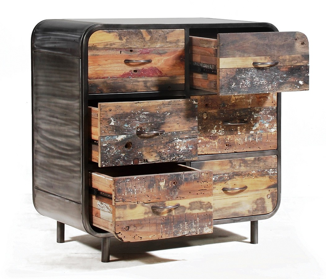 Industrial Recycle Wood Cabinet Reclaimed Wood 6 Drawers