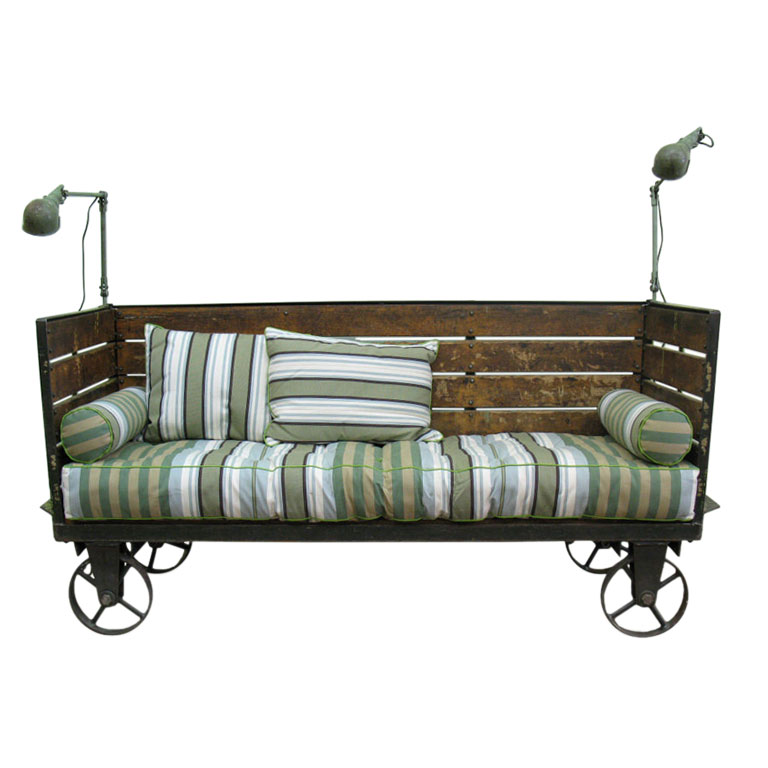 Vintage Industrial Sofa On Wheels Cart Akku Art Exports