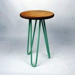 hair pin legs metal stool with wood top size 30 cm dia x 45 h