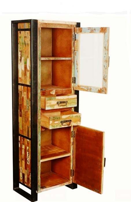 Tall Industrial Recycle Wooden Display Cabinet With Drawers - Akku ...