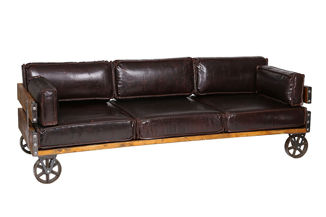 Leather Industrial Sofa With Wheels Royal Black