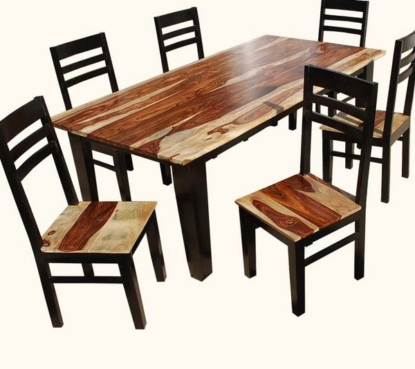 retro akku natural dark rosewood square dining table and chairs set 1 size in inches Table   83 L  X 42 D X 30 H   chairs Chair 18 L  X 18 D X 40  H