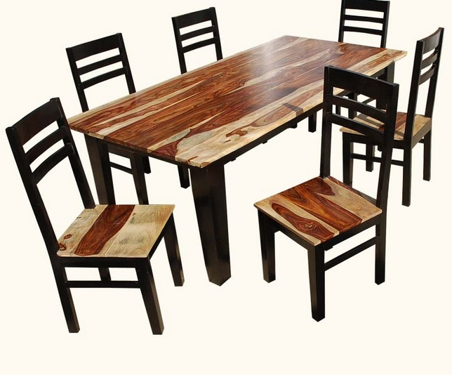 Retro Akku Natural Dark Rosewood Square Dining Table And Chairs Set 1 Size In Inches