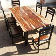 retro akku natural dark rosewood square dining table and chairs set 2 size in inches