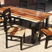 retro akku natural dark rosewood square dining table and chairs set 3 size in inches