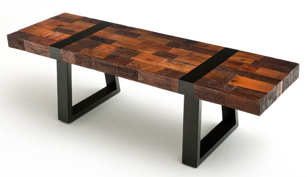 Recycle Wood Industrial Rustic Bench Akku Art Exports