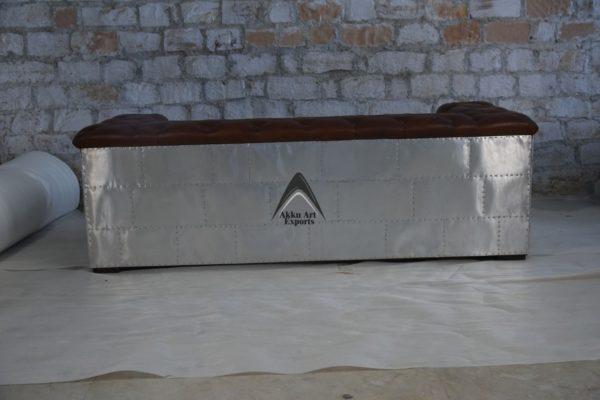 Iron and leather sofa