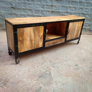 industrial wooden tv cabinet