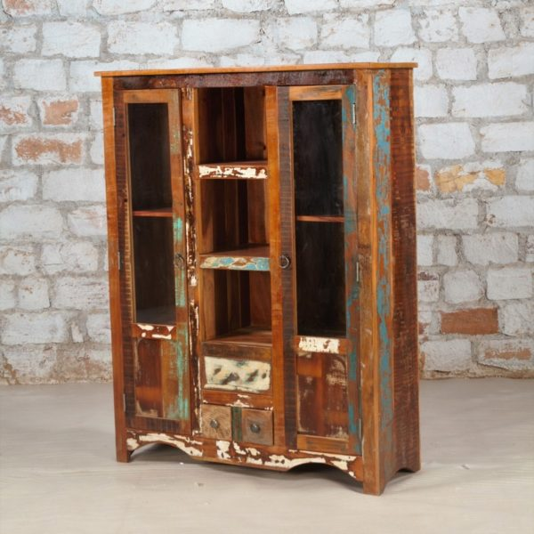 recycled wood display cabinet