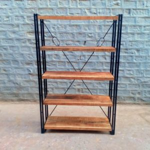 iron wood bookshelf