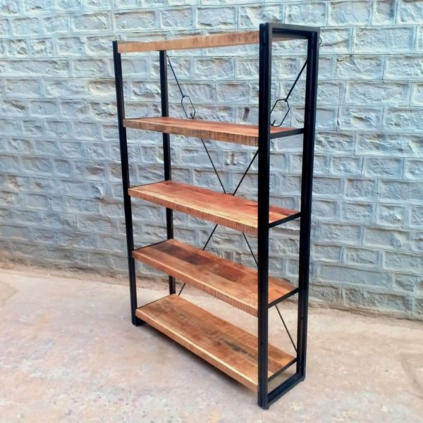 iron wood bookshelf