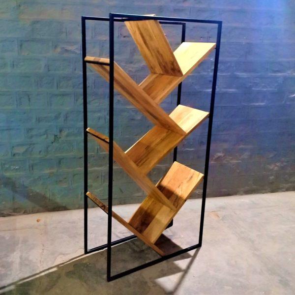 iron wooden bookcase