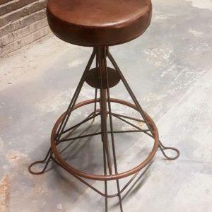 iron leather stool