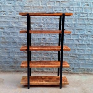 solid wood industrial bookshelf