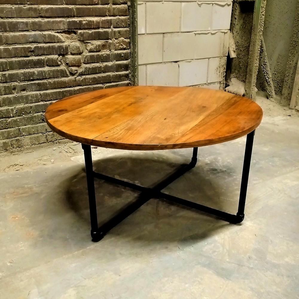 - Round Industrial Coffee Table, Iron Wooden Coffee Table Akku Art