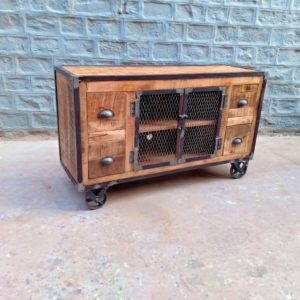wooden iron tv cabinet