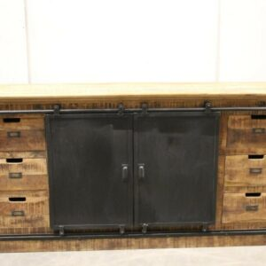 industrial sideboard dark mango wood sliding door